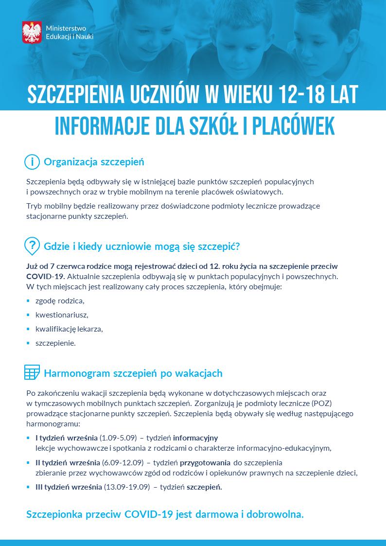 szczepieniauczniowwwieku1218latinformacjedlaszkoliplacowekplakat